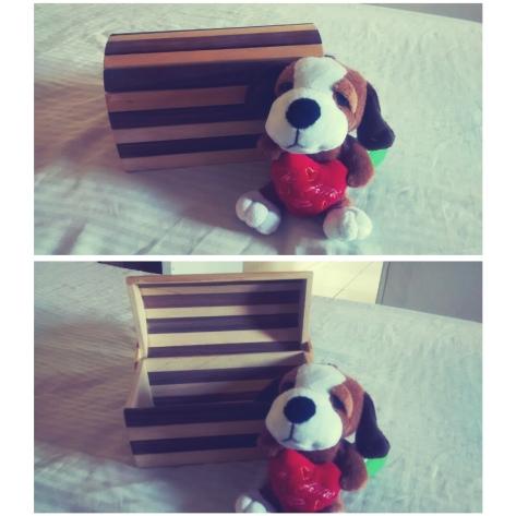 Baú de madeira - Foi o primeiro presente que o Lê me deu (nem éramos casados) estava cheio de chocolate dentro e com esse cachorrinho de pelúcia, porque eu AMO cachorros rsrs :D
